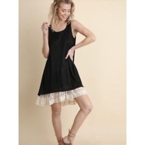 Umgee Sleeveless Dress with Lace High Low Hem